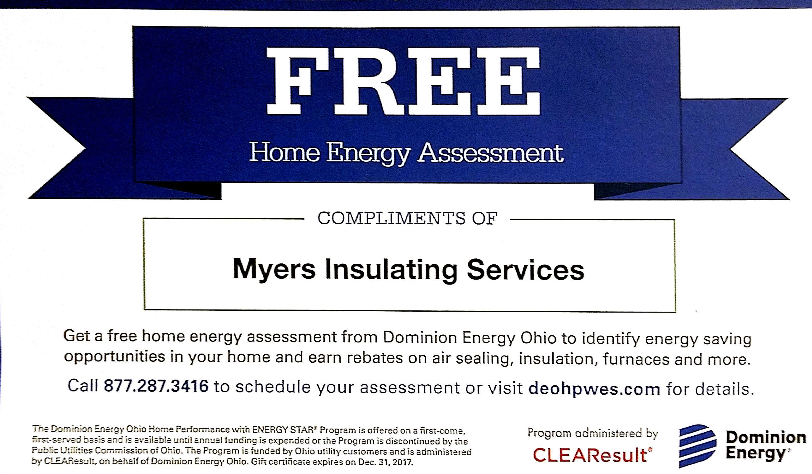 Free home energy audit with dominion energy in cleveland area for Insulate your home for free